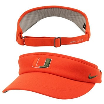 Nike Miami Hurricanes Sideline Dri-FIT Adjustable Performance Visor - Orange