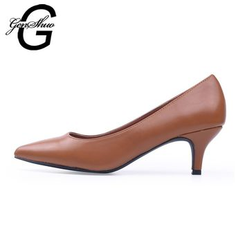 GENSHUO Women Shoes Med Heels 5CM Black Brown Pumps Kitten Heels Shoes for Office Lady Classic Working Shoes Size 36-41
