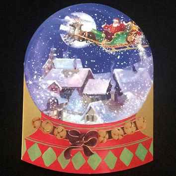 Christmas Snow Globe  - Santa Sleigh.Flying Over Snoe Covered Roof Tops - Caspari - Vintage 1996 Holiday Greeting Card