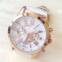 Delicate Women's Watches Geneva Roman Numerals Faux Leather Analog Dress Wrist Watches Hot Selling Jun29