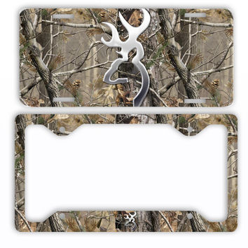 Browning Buck Head Deer Camo License Plate Frame Car Tag Hunting