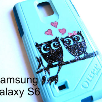 Galaxy S6 Otterbox Case, Otterbox Samsung Galaxy S6 Case Custom Glitter owl case, Sparkly Cute S6 Case