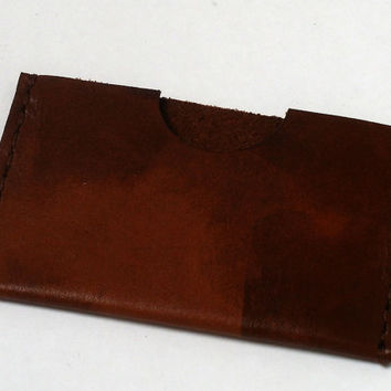 Leather card holder, minimalist wallet, brown, Oyster card holder, hand sewn