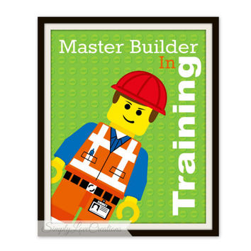 Lego Movie Print - Master Builder In Training // Boy's Room Decor // Girls Room // Playroom // Nursery // Lego Batman Print