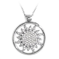 "16"" Sun Burst .925 Sterling Silver CZ Pendant Necklace"