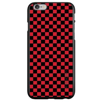 DistinctInk® Spigen ThinFit Case for Apple iPhone or Samsung Galaxy - Red Black Checkered Flag Geometric