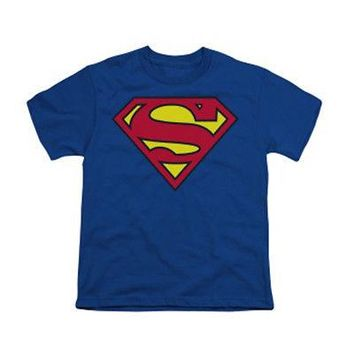Superman Classic Logo DC Comics Licensed Kid's Youth T-Shirt - Blue