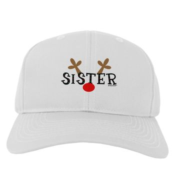 Matching Family Christmas Design - Reindeer - Sister Adult Baseball Cap Hat by TooLoud