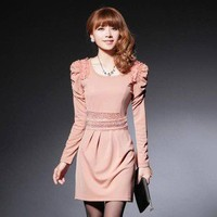 Uinque design Long Sleeve Lace Thickened Casual Dress new arrival jiust one size