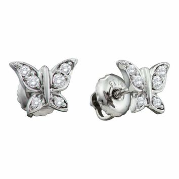 14kt White Gold Women's Round Diamond Butterfly Bug Screwback Stud Earrings 1-10 Cttw - FREE Shipping (USA/CAN)