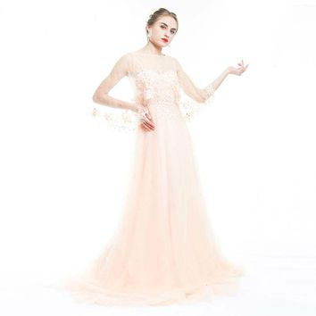 Beading Long Evening Dress Elegant Shawl Sleeve 3D Appliques Dress Tulle Heavy Hand Made robe