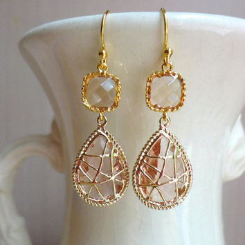 Champagne Wrapped Glass Dangle Earrings. Champagne Earrings. Champagne Wedding. Peach Wedding. Bridesmaid Earrings. Bridesmaid Gift.