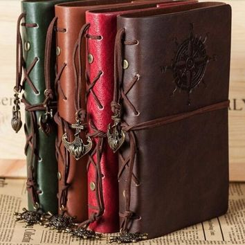 Refillable Vintage Leather Notebook Journal Compass