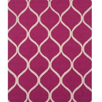 EORC Hand-tufted Wool Pink Traditional Trellis Moroccan Rug