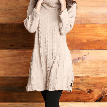 Reborn Collection Mocha Cable-Knit Convertible Tunic | zulily