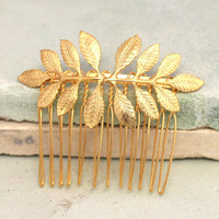 Bridal Hair Comb,Golf Leaf Hair Comb,Bridal Accessories,Bridal Hair Jewelry,Bridal Greek Leaf Hair Accessories,Wedding Gold Leaf Hair Comb