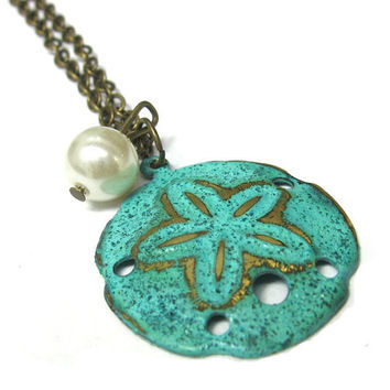 Mint Green Sand Dollar Verdigris Brass Necklace by SovereignSea
