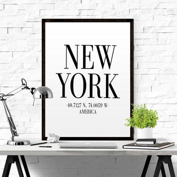 New York Coordinates Poster PRINTABLE FILE Newyork longitude latitude ny city newyork art new york new york map New York Wall Art Poster Art