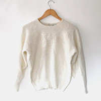 Cream sweater / soft / fluffy / embroidered / angora sweater / vintage / 80s / acrylic / floral jumper / button up top / beige wool sweater