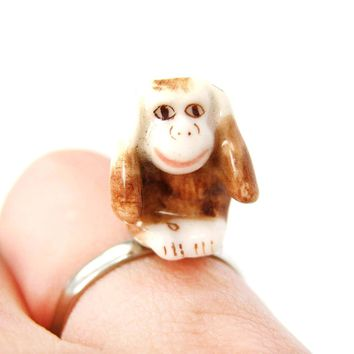 Porcelain Ceramic Monkey With Hands Over Ears Animal Adjustable Ring | Handmade