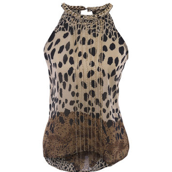 Chained Animal Print Blouse