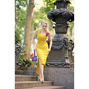 Bespoken Amal Style Golden Yellow Dress  - Free Custom Sizing