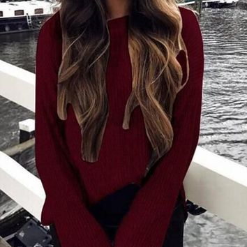 Red Plain Side Slit Long Sleeve Fashion Pullover Sweater