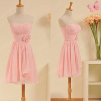 2014 Rose Pink Strapless Flower A-Line Short Ruffled Bridesmaid Dress,Cheap Chiffon Gowns Evening Party Prom Dress New Homecoming Dress