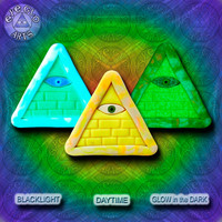 GLOW in the dark jewelry Yellow Illuminati all seeing eye pyramid pendant EyeGloArts Handmade in the USA blacklight polymer clay millefiore