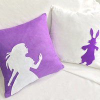Pick Your Color. Alice In Wonderland Purple And White Decorative Pillow Cover Set. Fairy Tale Cushion Cover. Girls Room Decor. Housewares