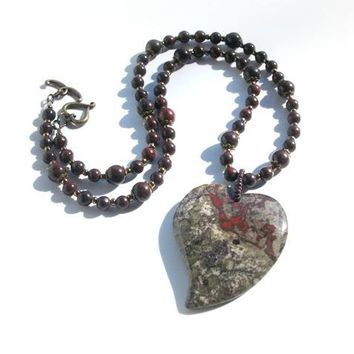 Bloodstone Heart Necklace- Courage