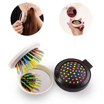 Travel Round Folding Hair Brush Comb with Mirror Handbag Purse Compact Pocket Size