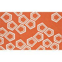 polygon dhurrie orange rug 5'x8'