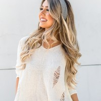 LOST + WANDER DISTRESSED IVORY SWEATER