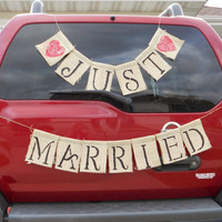 Just Married Brown Burlap Banner with Hearts for by MadeByMarcy