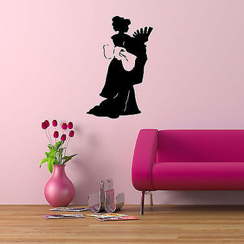 JAPANESE BEAUTIFUL GEISHA GIRL  WALL VINYL STICKER  DECALS ART MURAL D1951