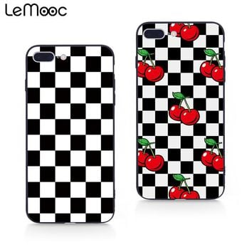 Lemooc Chic Check  Phone Case for iPhone 7 8 Plus Mosaic Design Cases for iPhone X Soft TPU+PC for iPhone 6 6s Plus