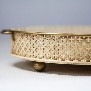Oval Vanity Tray: Vintage Metal Tray with a Knight's Symbol of Lions & Horse, Colorful Tea Tray with a Decorative Perforated Edge