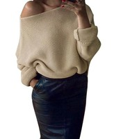Off Shoulder  Womens Chunky Knit  Sweater