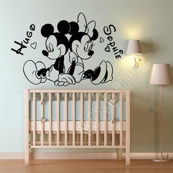 Cartoon cute Mickey Mouse Minnie Custom two Kids Name baby wall stickers for kids rooms home decoration Art Home Decor B614