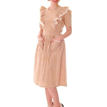 Early 1940s VTG House Dress Cotton Gingham  34-24-Free Pinafore Style