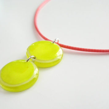 Neon Necklace, Short Simple Necklace, Yellow Pink Pendant, Plexiglass Geometric Necklace, Two Discs Charm, Minimalist Womens Resin Pendant
