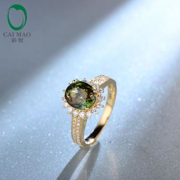 Oval Green Tourmaline Real 14k Yellow Gold Pave Set Diamond Engagement Ring Stunning For Lady Free shipping