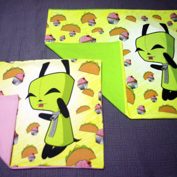Invader ZIM - Gir with goodies - Pillow Cases in standard and travel sizes