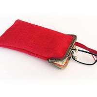 Sunglasses Case, Gift for Her, Mother's Day Gift, Single Glasses Case, Red Upholstery fabric, Kiss Lock Antique Bronze Frame