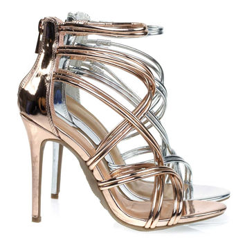 Royals42 Rose Gold By Anne Michelle, High Heel Stiletto Sandal w Metallic Strap. Evening Party Shoe