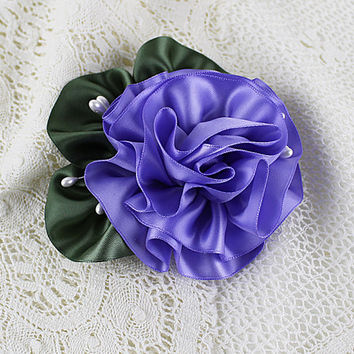 Lavender Ruffle Flower Corsage, Floral Pin, Ribbon Flower, Millinery, Floral Corsage, Vintage Floral, Hat Flowers, Mother Corsage