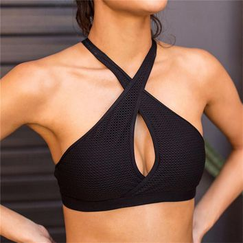 Sexy Black Women Sport Bra Running Athletic Yoga Bra Breathable Underwear Bra Push Up Sujetador Deportivo Crop Top Fitness Bra