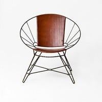 Sculpted Metal + Leather Bowl Chair