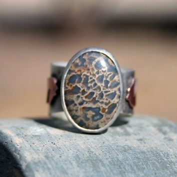 Fossilized Dinosaur Bone Sterling Silver Ring  by thenay on Etsy